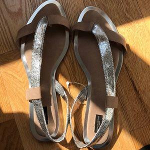 Zara silver beige flats sandals 41/11 New summer